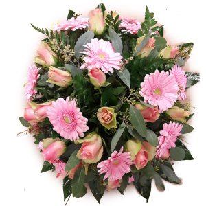 roze biedermeier rouw stuk met rozen